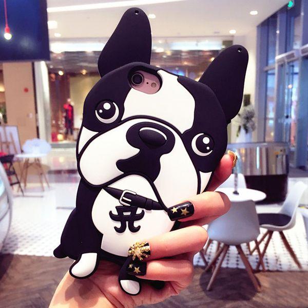 3D Dog French Bulldog funda de silicona suave para iPhone 7 8 Plus 6 6s Plus X sin cadena de perlas Capa Funda