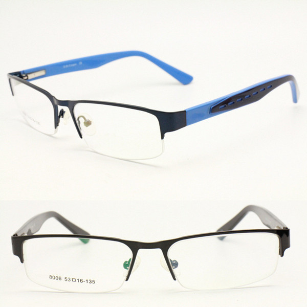 pull sales 8006 shield shape half-rim metal combined acetate temple with flexible dual colors optical glasses frame for teens