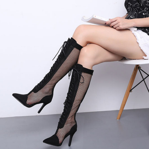 Fashion Cross Strap Lace Up Long Boots Fall Black Mesh Casual Thin Heel Knee High Boots Punk Style Summer Boots