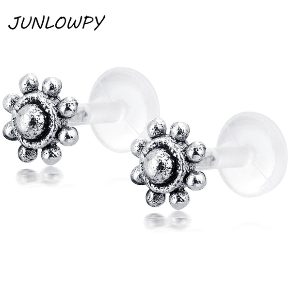 Silver Labret Stud Crystal Cartilage Piercing Tragus Earrings Lip Ring Tree OF life Flower Bead Body Jewelry