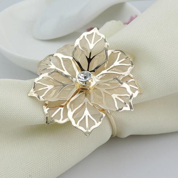 Gold Metal Flower Rhinestone Napkin Ring Serviette Holder For Wedding Banquet Dinner Decor Table Accessories napkin circle 170pcs T1I864