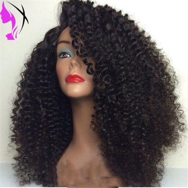 Side part short Curly Synthetic Lace Front Wig Kinky Black Women Wig 180density Heat Resistant Fiber wig
