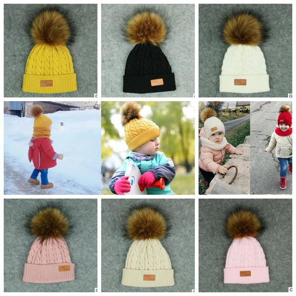 Baby Boy Girl Pom Hat Winter Warm Crochet Knit Bobble Beanie Cap Knitted Beanie Baby hat 7 color KKA5880