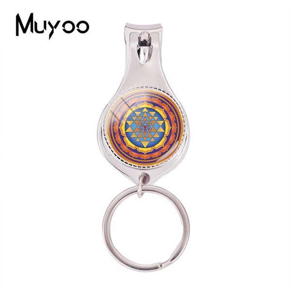 2018 Fashion Sri Yantra Mandala Multifunctional Keychain Sacred Geometry Nail Clipper Keyring Glass Jewelry Silver Nail Clippers