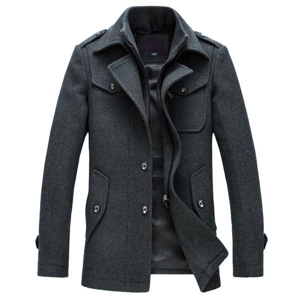 Abrigo de lana de abrigo de invierno para hombre Chaquetas slim fit Ropa de abrigo Chaqueta casual de abrigo de hombre de abrigo Abrigo de guisante más tamaño M-4XL