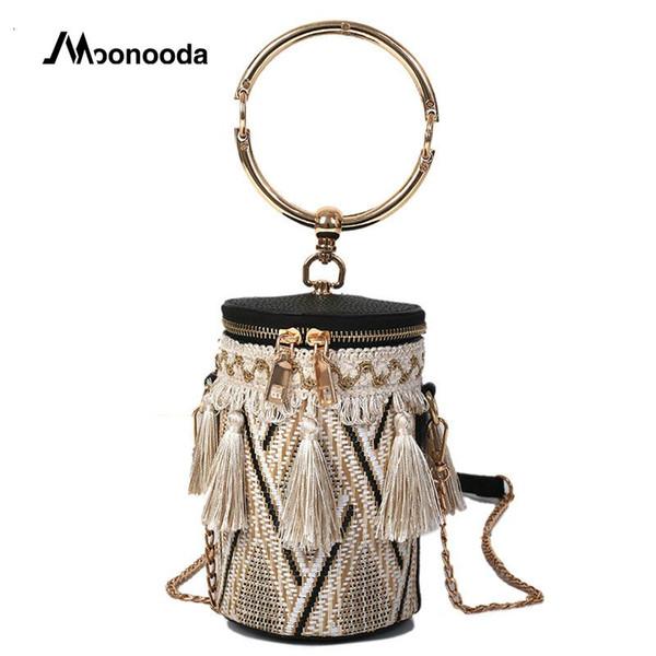 Moonooda Tassel Bucket Straw bag Chic Chains Fashion Woven Luxury Handbags Women Bags Designer Metal Crossbody Shoulder Bag