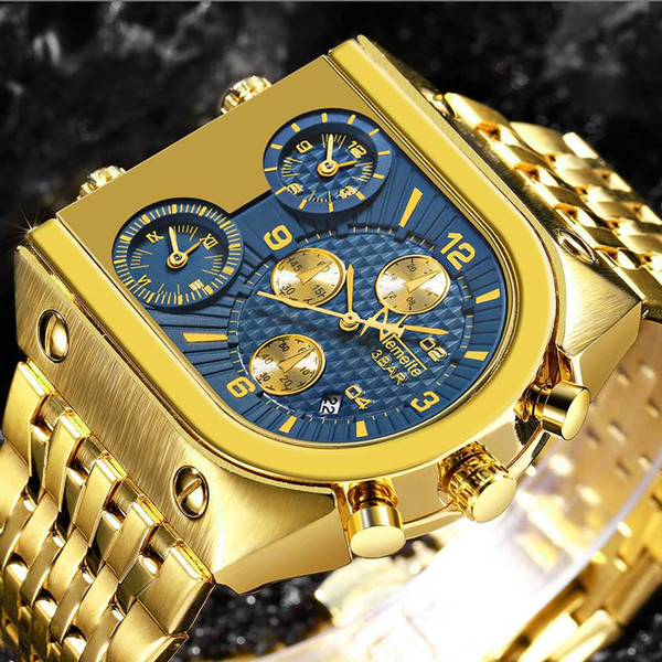Men's Big Dial Top Quartz Wristwatches Gold Creative Business Stainless Steel Watches Men Relogio Masculino 2018