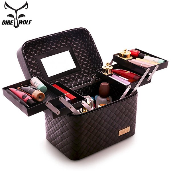 DIREWOLF Women Professional Cosmetic Bag Portable Makeup Organizer Large Capacity Multilayer Storage Box Suitcase For Manicure