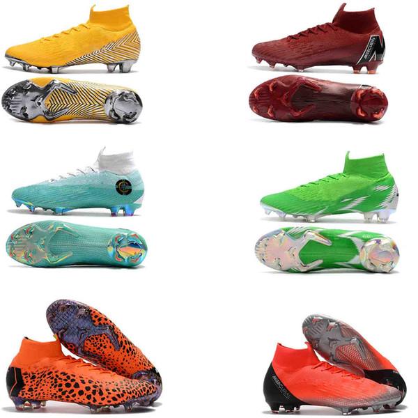 42837d84 Original Blanco Azul CR7 Zapatos de fútbol Mercurial Superfly 360 Elite  Neymar FG Botas de fútbol