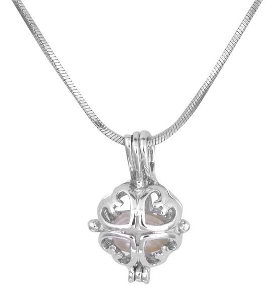 18kgb nuovo design collana di perle ciondolo perla gabbia pendenti medaglioni di ostriche per fai da te amore amore collana pendente gioielli p93