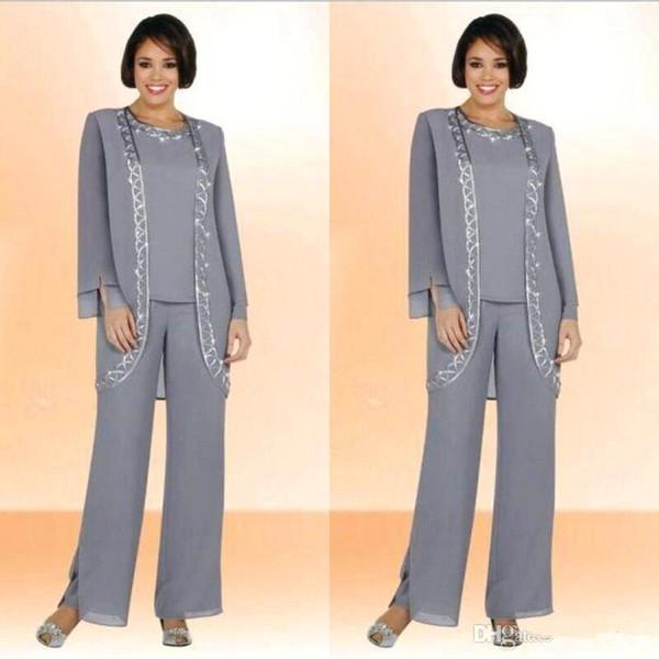 Mütevazı Gümüş Gri Şifon Jewel Uzun Anne Gelin Pant Uzun Kollu Ceket Ile Suits Ucuz Nakış Örgün Takım Elbise Custom Made