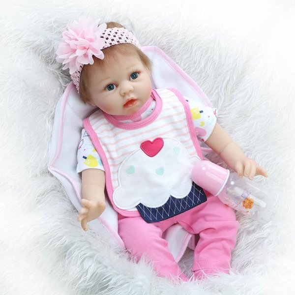 Wholesale- Reborn Baby Doll Soft Silicone 22inch 55cm Magnetic Mouth Lovely Newborn Lifelike Boy Girl Toy White Bib Eyes Open