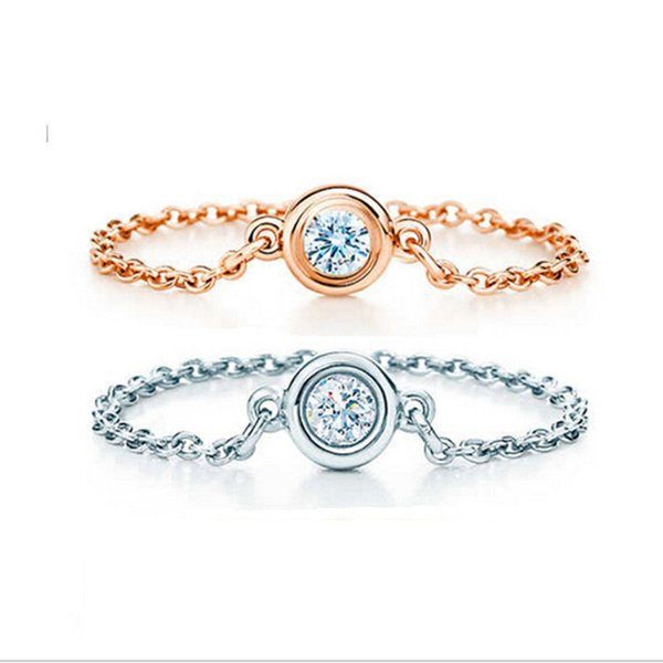 100% 925 Sterling Silver Rings Jewelry Cheap Link Chain Round CZ Rose Gold And Silver Color Size 6.7.8 Statement Jewelry Ring