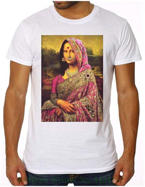 - Gandhi Mona Lisa - camisa Slim Fit T dos homens (cabida !!!) Índia Da Vinci Arte Fun Geek nova manga curta gola redonda