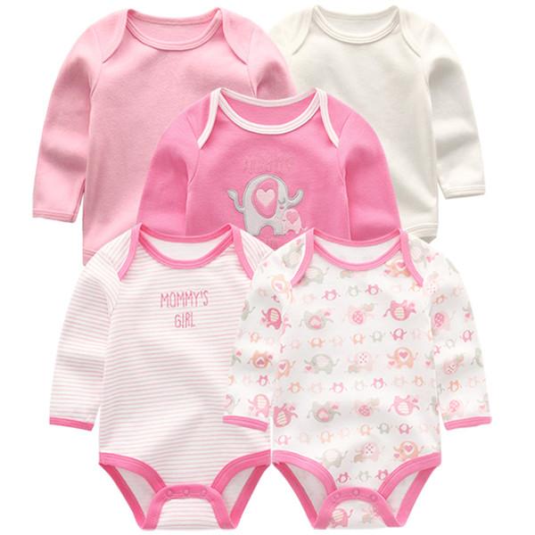 5 pçs / lote Meninos conjuntos de roupas de mangas compridas inverno novo recém-nascido macacão meninas bodysuits roupa infantil
