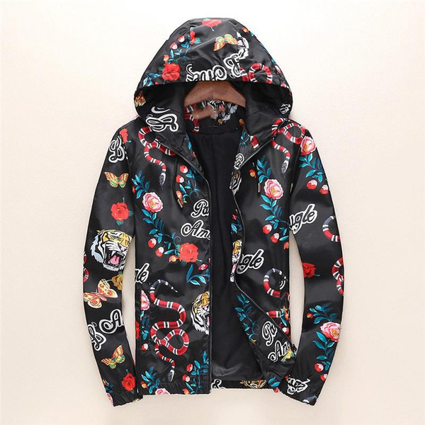 d7ff210a750b Fashion Jacket Casual Windbreaker Long Sleeve Cotton Blend Size M-3XL One  Coler Mens Jackets Zipper Pocket Animal Flower Letter Pattern