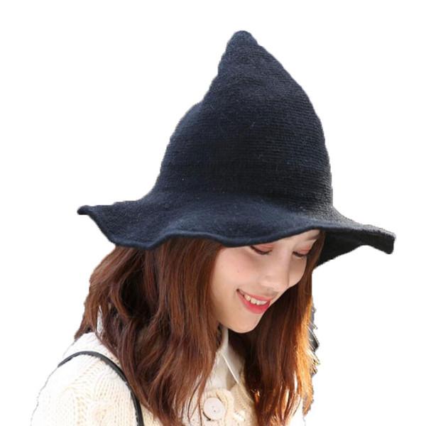 Women Bucket Hats 2018 Modern Witch Hat Wool Halloween Pointy Knitted Fisherman Caps Wide Brim Solid Folding Bonnet Adult