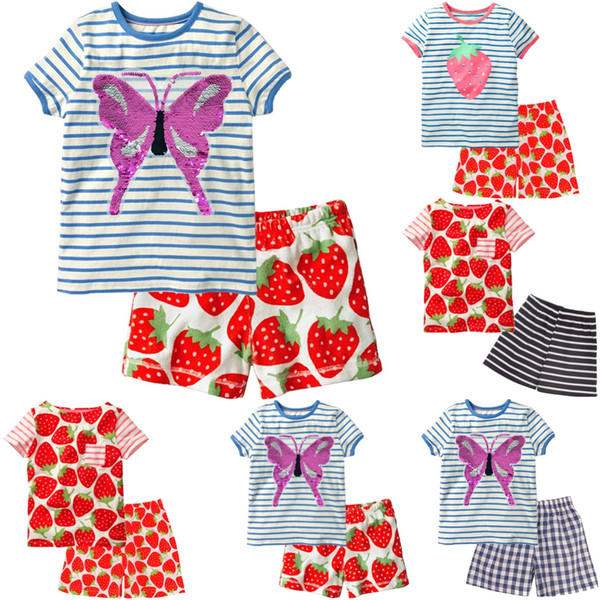 Butterfly Baby Girl Clothes 1-5Y Children Tee Shirts Pant Clothing Suit Girls Outfits 100% Cotton Kids Top T-Shirt Jumpsuit Soft 60set/lot