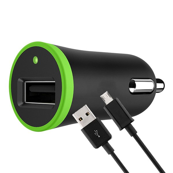 2 in 1 Kit For Single USB Car Charger Adapter Lighter Socket 2.1A with Charging Cord Data Cable 1.2m for Phone iPhone 30pc