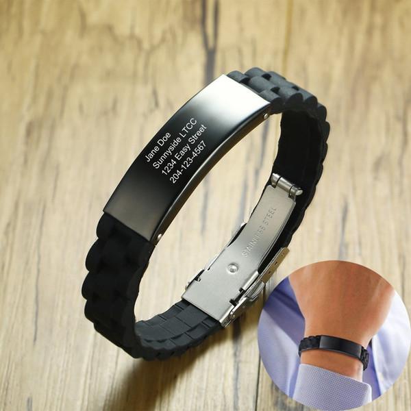 57bd0a94aaa9 Pulsera IDmeBAND de silicona negra personalizada para hombre con etiqueta  de identificación de acero inoxidable Corredores