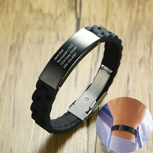 1d4b0ad592a5 Pulsera IDmeBAND de silicona negra personalizada para hombre con etiqueta  de identificación de acero inoxidable Corredores
