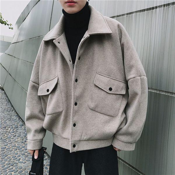 2018 autumn and winter men's fashion simple pocket decoration woolen blends lapel overcoat solid color loose casual coats m-2xl