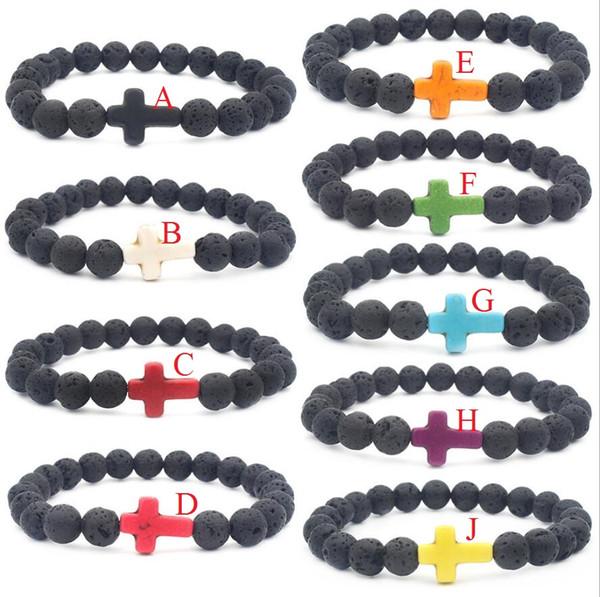 9 colors Natural Cross Black Lava Stone Beads Elastic Bracelet Essential Oil Diffuser Bracelet Volcanic Rock Beaded Hand Strings Jewelry