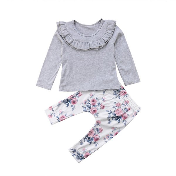 2 Unids Encaje Recién Nacido Bebé Niñas Manga Larga Con Volantes Tops T-shirt Pantalones Florales Polainas Traje Ropa Conjunto