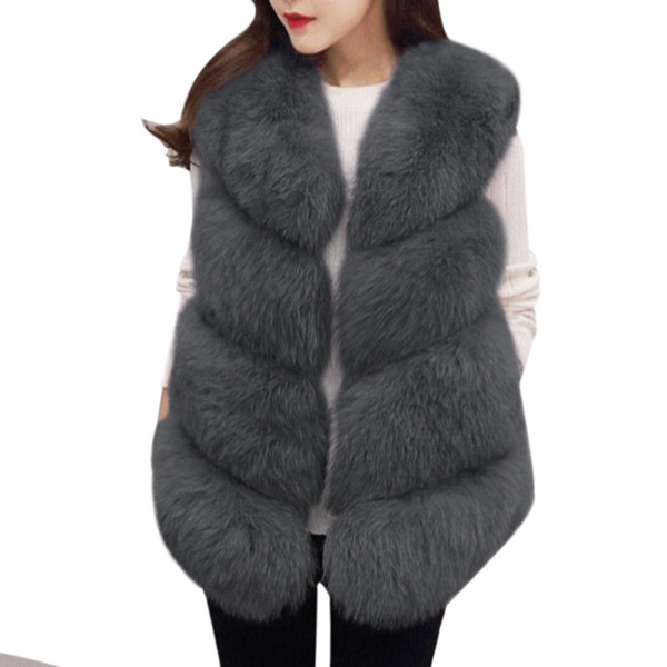 2017 HOT Women Fur Vest Coat Thick Fluffy Warm Woman Faux Fox Fur Vest Coat Jackets O-Neck Manteau Fourrure Femme 3XL Plus Size