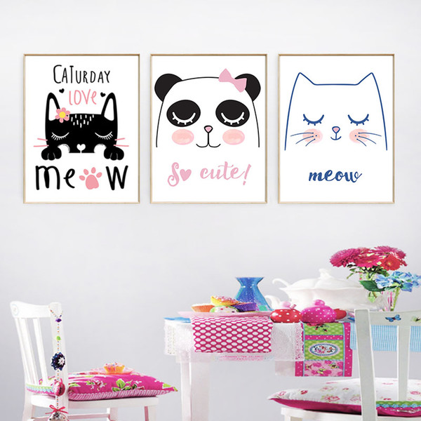 Nordic Wall Art Printed Picture Canvas Painting Christmas Cute Cartoon Animal Cats Poster Kawaii Baby Kids Room Home Decoration