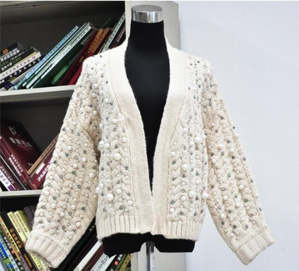 Viscose wool Women white knitted tops long sleeve sweater Handmade beaded sweater female mohair twisted sweater cardigan jacket Pearl sequin