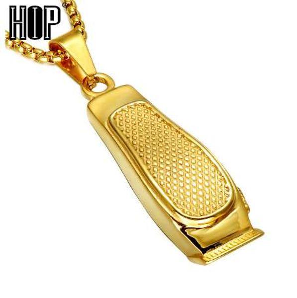 HIP Hop Saç Kesimi Makinesi Berber Kolye Altın Renk 316L Paslanmaz Çelik Zincir Kolye Kolye Erkekler Charm Takı için