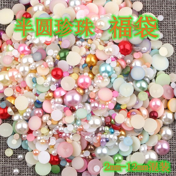 Mix 2-12mm Multicolor Semicircle DIY half face imitation pearls beads Nail sticker DIY mobile phone decoration jewelry material