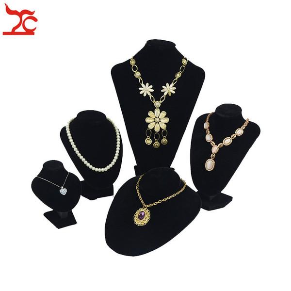 Professional Velvet Jewelry Display Mannequin Rack 5 Sizes Black Necklace Pendant Bracelet Chain Organizer Storage Exhibition Bust Stand