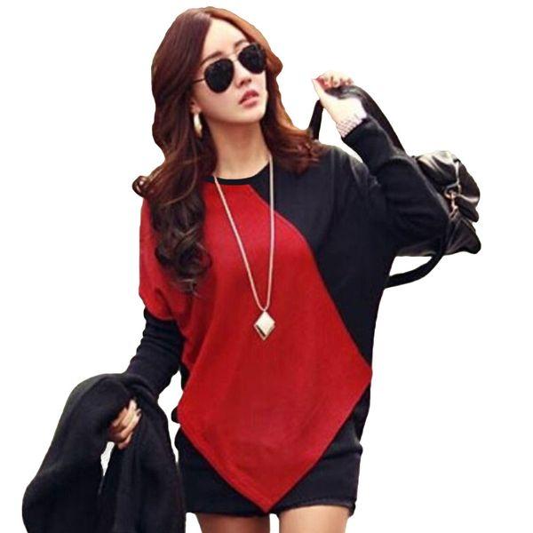 Korean Fashion Long Tops Women O Neck Color Block Patchwork Batwing Sleeve T Shirt Casual Loose K-pop T-shirt Autumn Tops 2018
