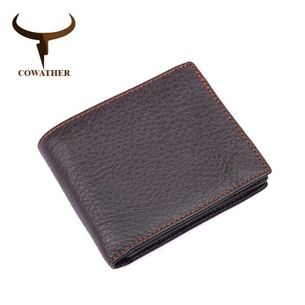 COWATHER 2017 100% натуральная кожа коровы короткие мужские бумажник 2 стиль для мужчин старинные хороший мужской кошелек бесплатная доставка