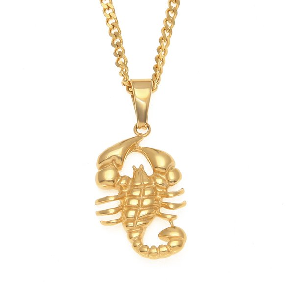 Fashion New Stainless Steel Scorpion Pendants Necklaces Gold Color Animal Pendant Necklace Fashion Hip hop Jewelry