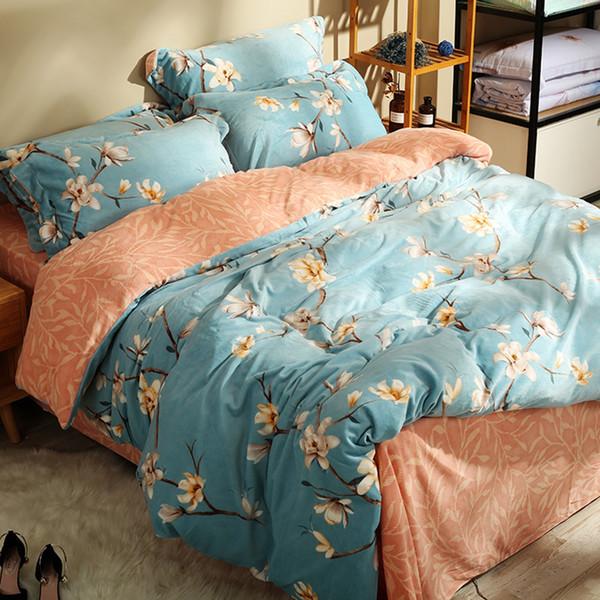Light Blue Flannel Bedding Sets For Adults Flowers Fleece Duvet Cover Orange Soft Bedspread Pillow Case Queen King Bed linens