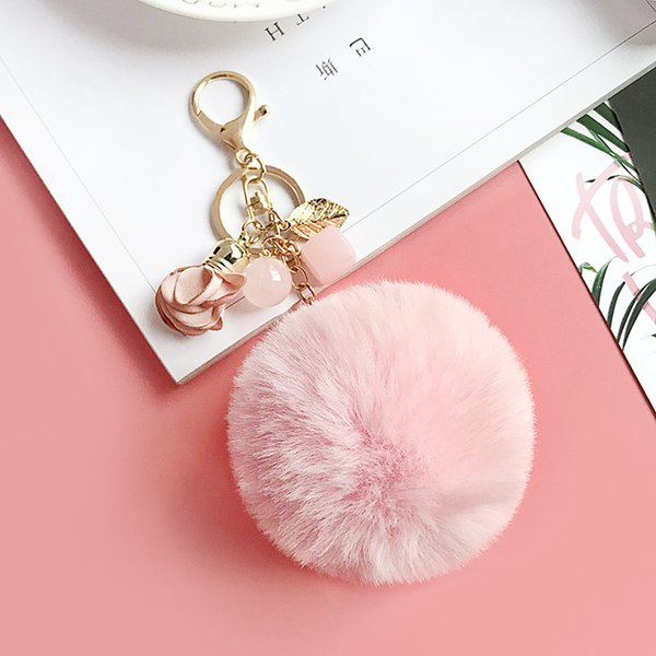 women New jelly beads flowers imitation rabbit hair ball car key chain female bag pendant beautiful car decoration small gift