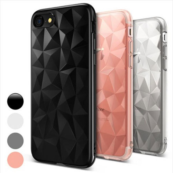 new Flexible TPU Case 3D Diamond Design Micro Cushion Protection Transparent Back Cover For iPhone X 7 8 Plus Samsung S9 Huawei P20 SCA457