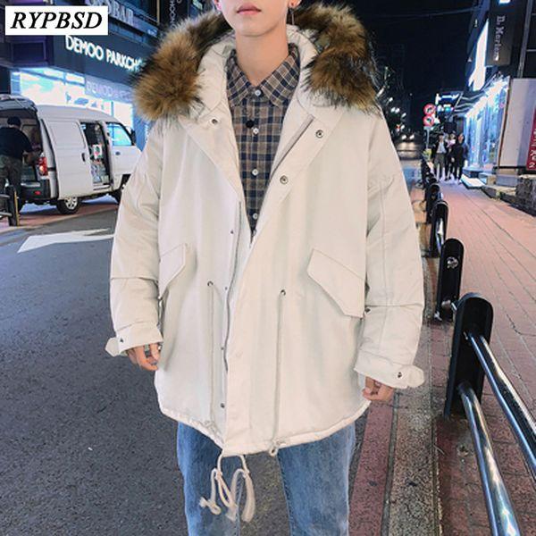 Men Winter Long Hooded Parkas 2018 Mens Colorful Fur Collar Coats Black Parkas Male Korean High Quality Warm Clothes