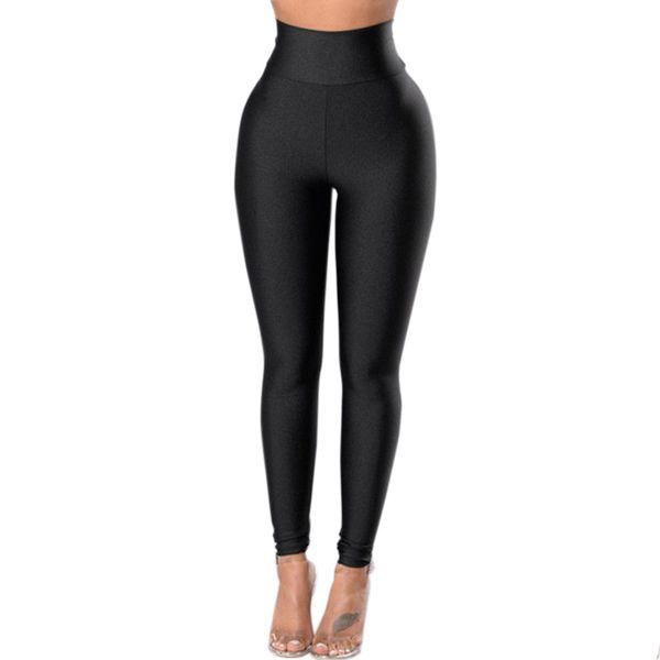Fashion Women's Leggings Solid Black Long Trousers Womens Fitness Skinny Leggings Slim Stretch Womens Outwear High Waist Legging