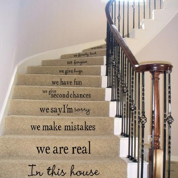 계단 하우스 규칙 우리는 우리가이 집 벽 데칼의 가족 사랑이 문자 계단 스티커 계단 거실 장식 스티커 인용
