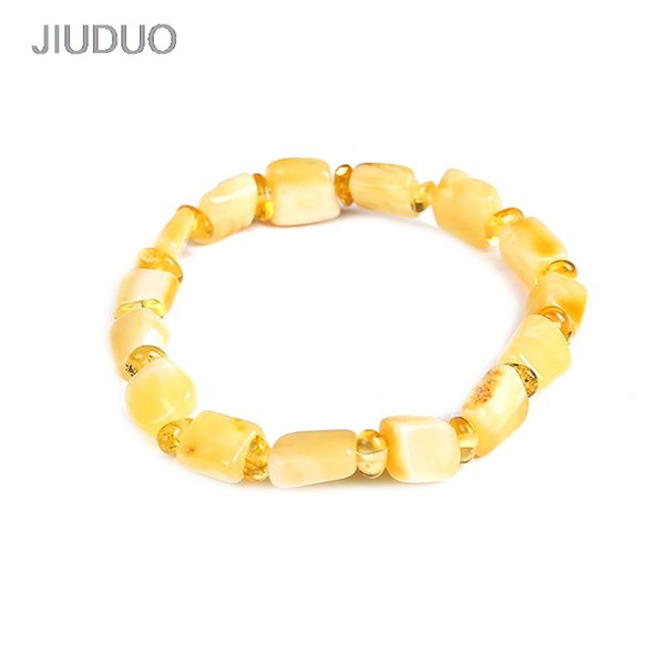 JIUDUO Unique super burst 100% Natural amber beeswax multi-treasure hand string bracelet lady genuine noble grade special BT0035