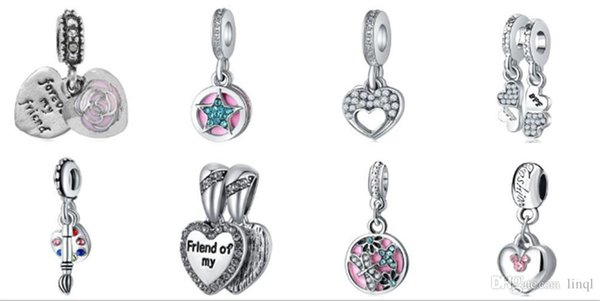 Wholesale Mixed Loose Silver Beads Charm EnamelAnna Belle Cinderella Pendant Beads Fit Women Pandora Bracelet Bangle Diy Jewelry KKA1171