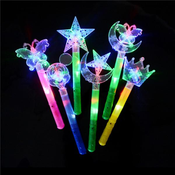 Stick Flash Wand Light Stick Luminous Toy 1pcs Funny Novelty Light-Up LED Light Flashing Cartoon Moon Butterfly Stars Toys