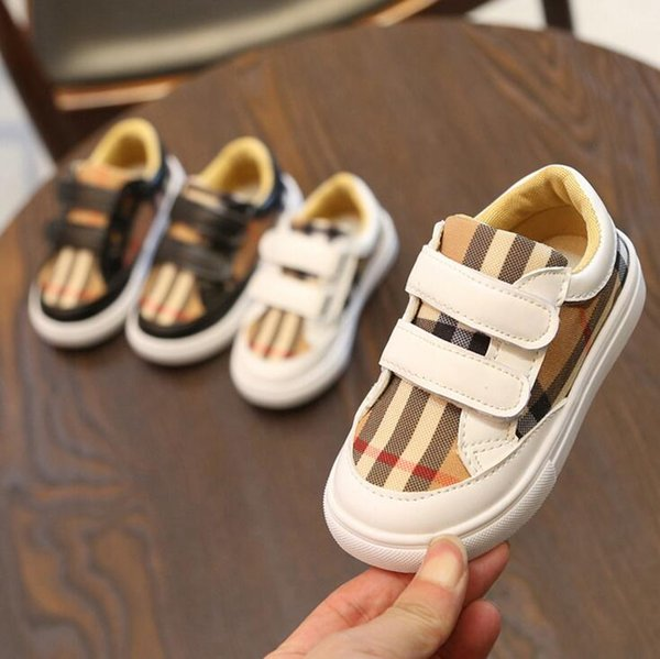 Fashion Toddler Kids Shoes Sport Plaid Striped Boys Girls Sneakers Canvas Shoes Children Casual Cartoon Skateboard Shoes