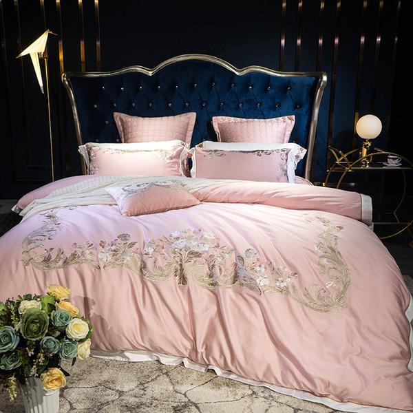Rose luxe exquis Royal broderie 80 S coton égyptien Literie Set housse de couette drap de lit taies d'oreiller reine taille roi 4 / 7pcs