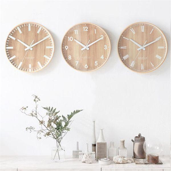 Primary Wood Mute Living Room Wall Clock Fashion Simple Study Circular Alarm Clock Home Furnishing Wall Clocks Bedroom Decor 78rf gg