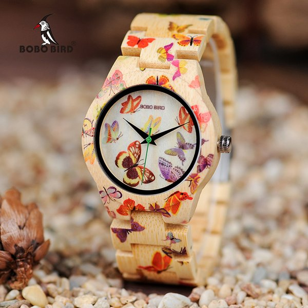 BOBO BIRD Ladies Wood Watch Women montre femme Bamboo Band Painting Butterfly Quartz Watches in Wooden Gift Box OEM W-O20 Y18102310